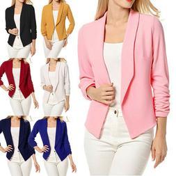 Fashion Women Coat Slim Blazer Long Sleeve Jacket Short Form