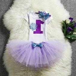 Flower Kids Baby Girl 1st Birthday Tutu Sets Little Mermaid