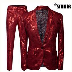 Aismz <font><b>Men</b></font> Slim Fit Costume Homme Red Ros