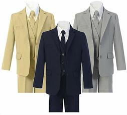Formal Big Boys Suit Slim Cut 5 Ps Set Jacket Pants Vest Dre