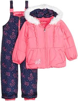London Fog Girls' Little Snowsuit with Snowbib and Puffer Ja