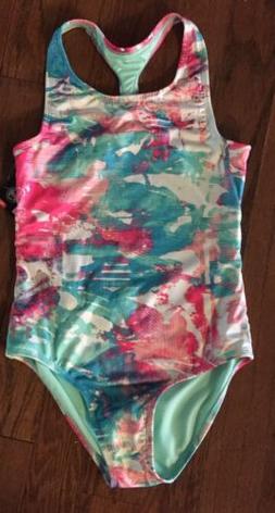 Under Armour Girls One Piece Swim Suit Aqua & Pink Watercolo