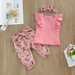 Girls Outfits Fly Sleeve Solid Tops+Floral Trousers Suits Gi