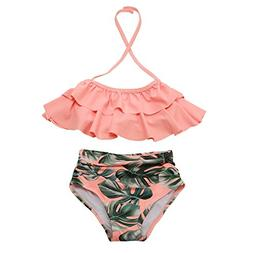Girls Swimsuit Falbala High Waisted Bikini Set Halter Neck S