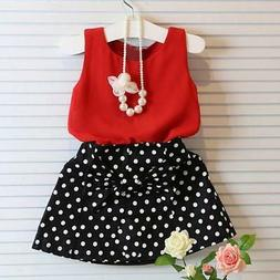 Girls Vest Pleated Dress Two Pieces Set Clothes Tank + Skirt