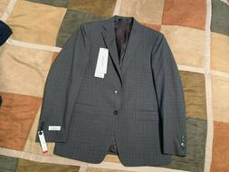 grey check wool stretch suit jacket sport