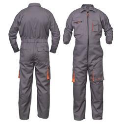 Grey Work Wear Men's Overalls Boiler Suit Coveralls Mechanic