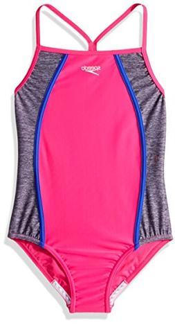 Speedo Girls Heather Thin Strap, Pink, Size 10