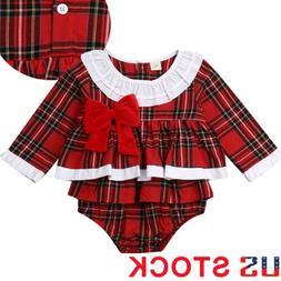 Infant Kid Baby Girls Plaid Cotton Dress Short 2Pcs Sets Out