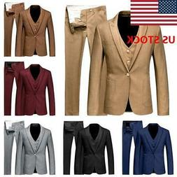 JAP Men's 3Piece Suit A Button Blazer  Slim Fit Business For