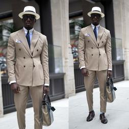 Khaki Formal Men Business Suit Work Wear Tuxedos Double Bres
