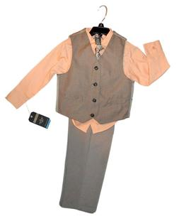 Dockers kids 4-piece formal suit set- orange/taupe vest/pant