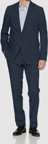 $1345 Cole Haan Men's 42S Blue Check Slim Fit Wool 2-Piece S