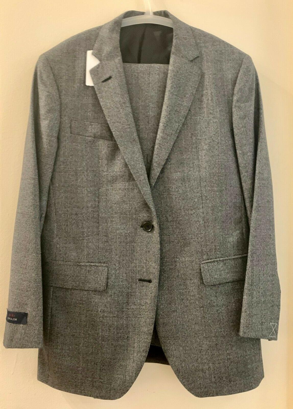 Brooks Fit Glen Plaid Suit, Grey, w