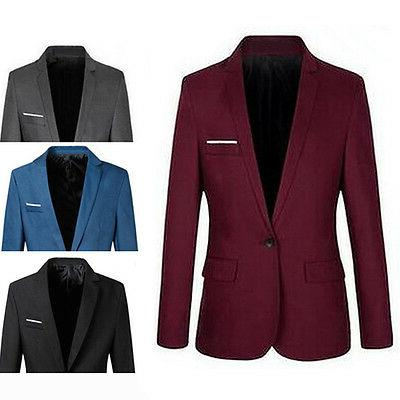 2018Casual Formal One Button Blazer Coat Jacket M-XXXL