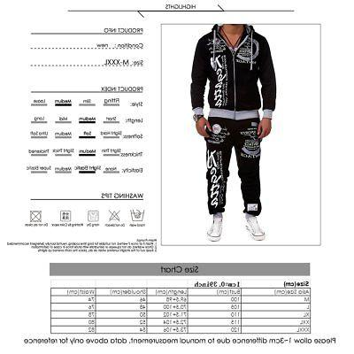 2PCS Tracksuit Sweatshirt Pants Sets Sport Wear Zipper Casual