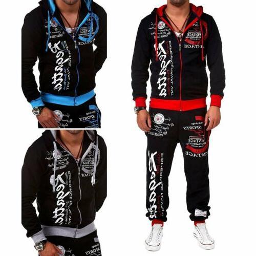2PCS Mens Slim Fit Tracksuit Sportswear Jogging Hoodie Sweatpants