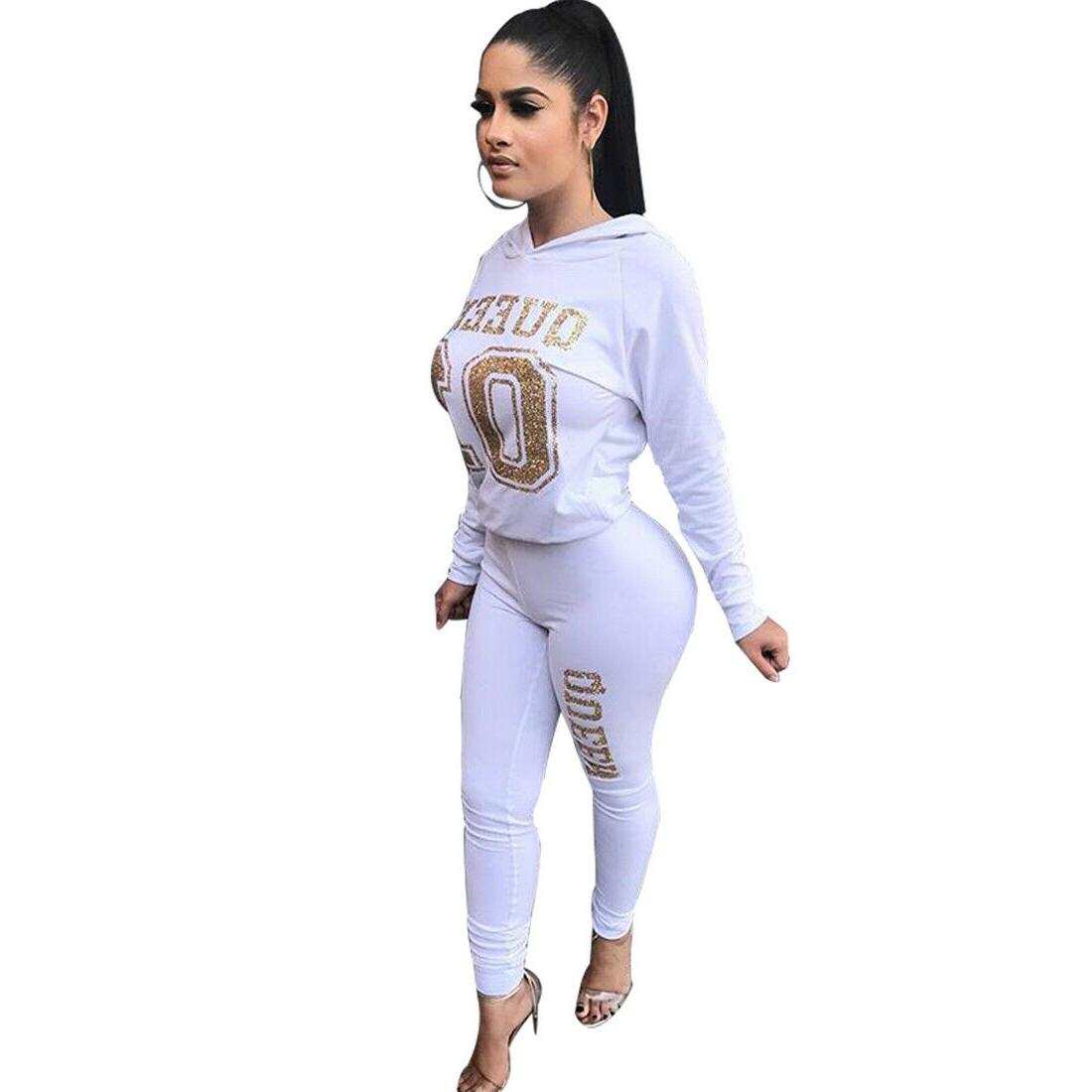 2Pcs Letter Printing Hoodie Tracksuit Set Casual Sweat HOT