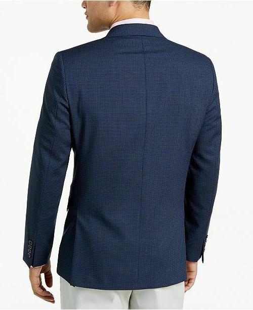 $350 Slim-Fit Black Check Wool Coat 38S NEW