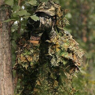 3d ghillie suit set sniper train leaf