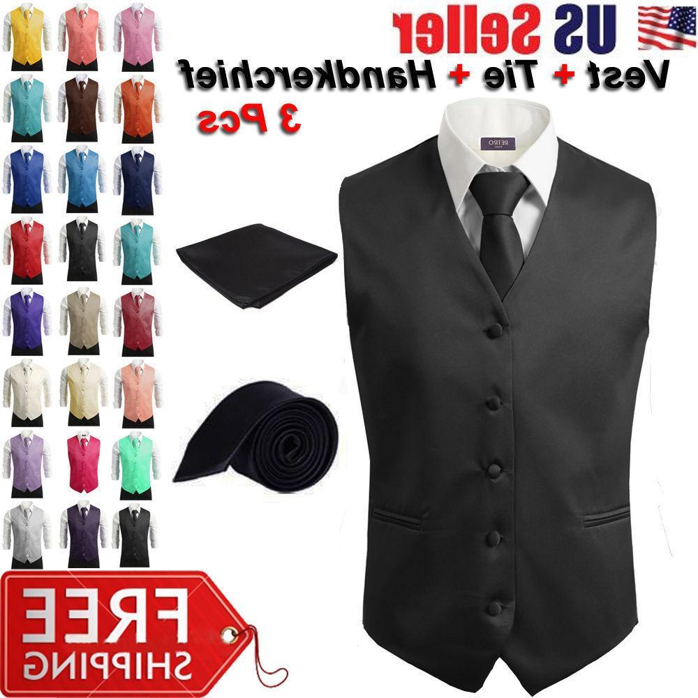 3pcs set men s formal vest slim