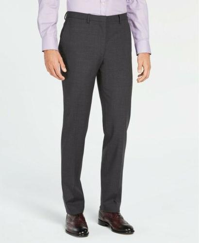 $425 Cole Haan Men'S 34w 30l Slim Fit Wool Gray Solid Dress