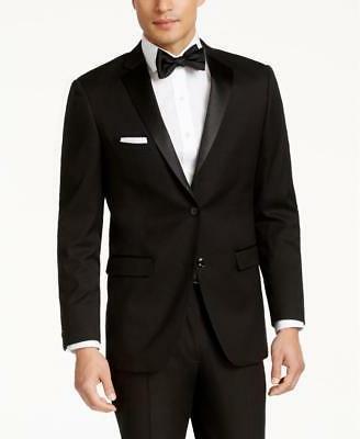 $425 Perry Ellis Portfolio Solid Black Slim-Fit Tuxedo Suit