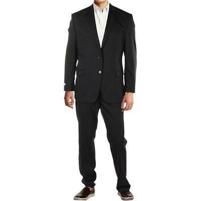 New $650 42R Calvin Klein Black 100% Wool Men's Flat Front S