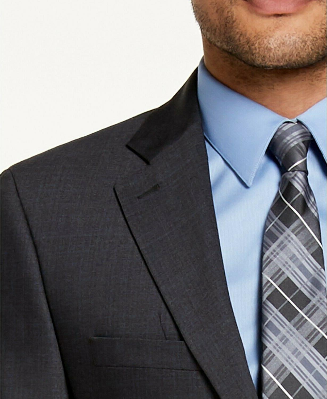 $450 Calvin Klein Gray/Blue Plaid Mens