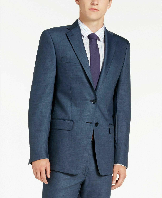 450 slim fit stretch solid blue suit