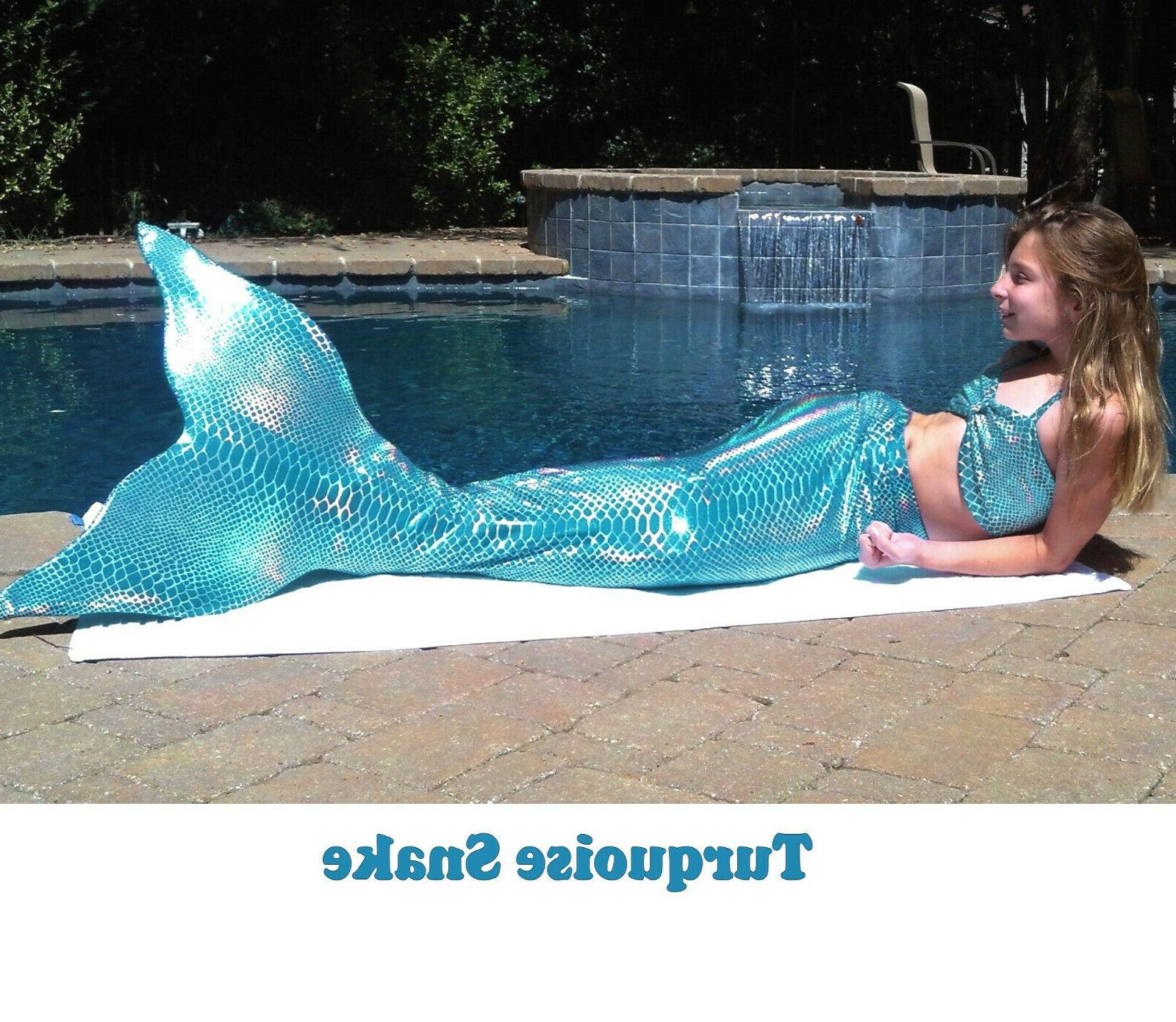 Mermaid Tail with Monofin made in US Swimmable Girls Adult S