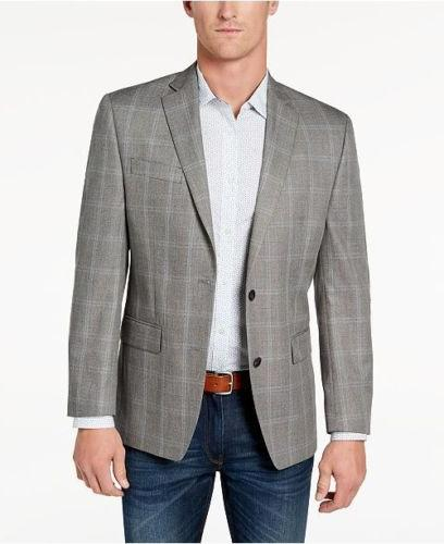 $549 MICHAEL KORS men`s GRAY PLAID FIT WOOL SUIT JACKET BLAZ