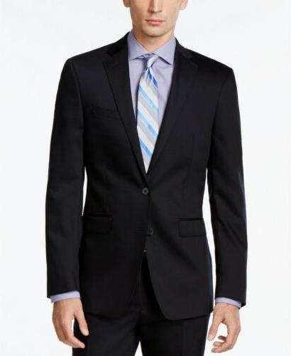 $600 Calvin Klein Navy Blue Solid X Fit Suit 31W Flat