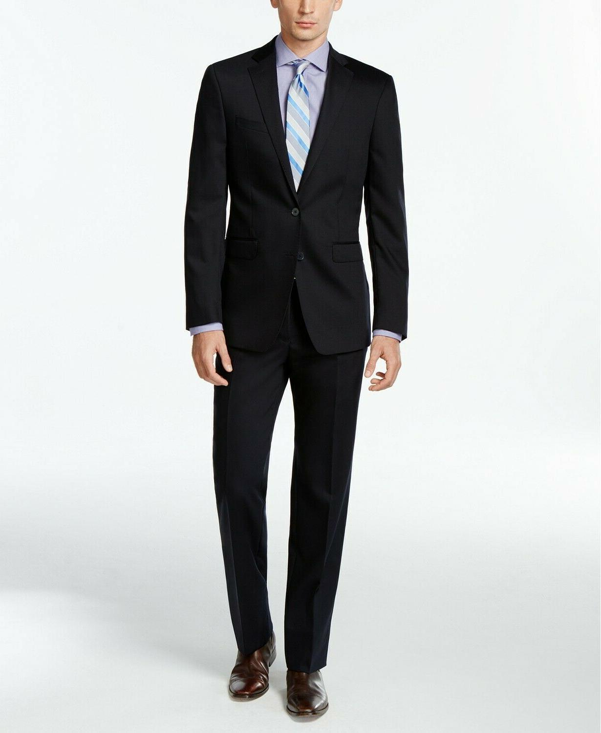 600 navy solid slim fit suit 42r