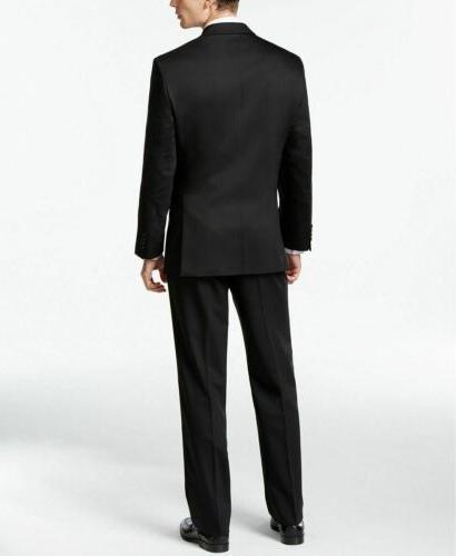 $650 Calvin Black Modern Slim Fit Suit 38R 32W Flat