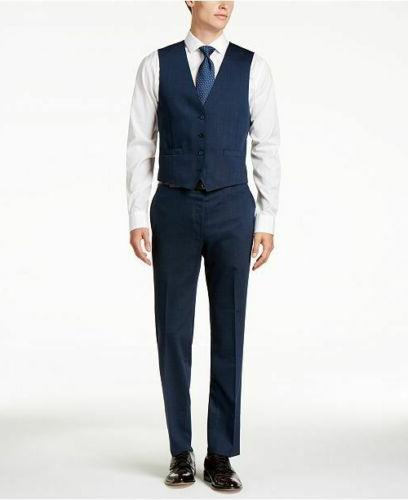 $650 Klein Slim-Fit Dark Blue Pindot Vested Suit 36S 33W