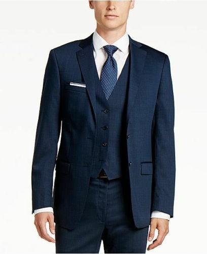 $650 Calvin Klein Slim-Fit Blue Vested Suit 33W