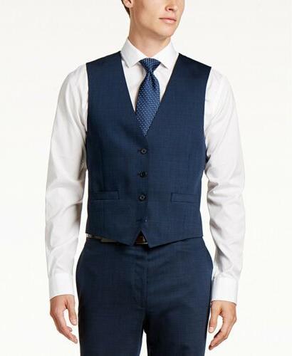 $650 Klein Slim-Fit Blue Pindot Vested 33W