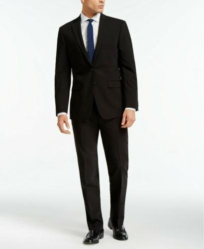 $815 CALVIN KLEIN Men Extreme Slim X Fit Wool Suit Black 2 P