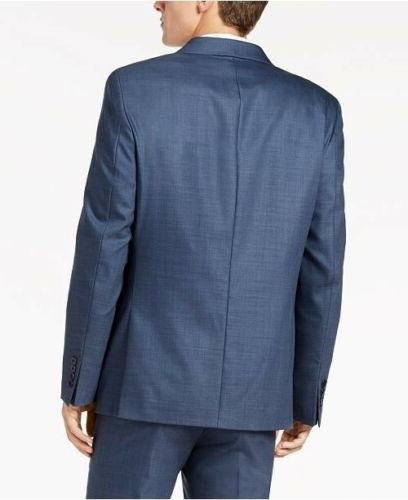 $700 Calvin Klein Men's Slim-Fit Stretch Blue Suit 40S x 30 Flat