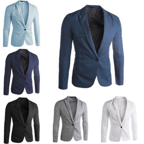 Men Slim Fit Button Formal Long Sleeve Business Coat