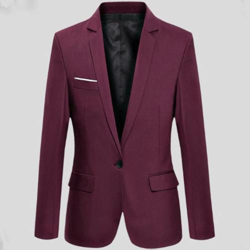 Men's One Button Business Work Jacket Outwear
