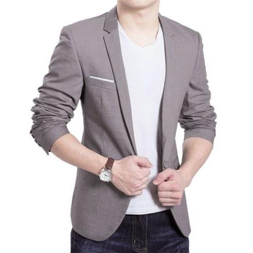 Men Button Long Sleeve Business Jacket