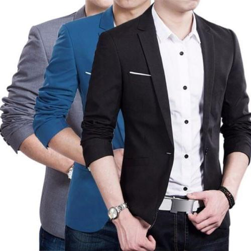 Men's Casual Slim One Button Suit Blazer Business Coat Jacket Outwear