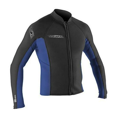 O'Neill Wetsuits Mens Superlite Jacket Black/Pacific X-Large