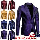 US Men's Casual Slim Fit One Button Suit Blazer Coat Jacket