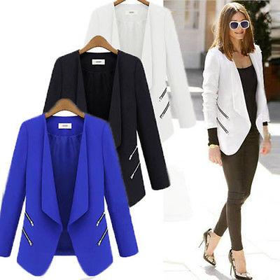 Women Casual Blazer Suit OL Business Jacket Coat Lapel Zip L