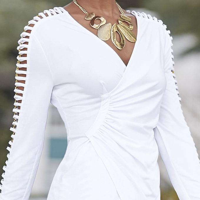 Ashro Top & Pant Set White Gold XL 2X Piece