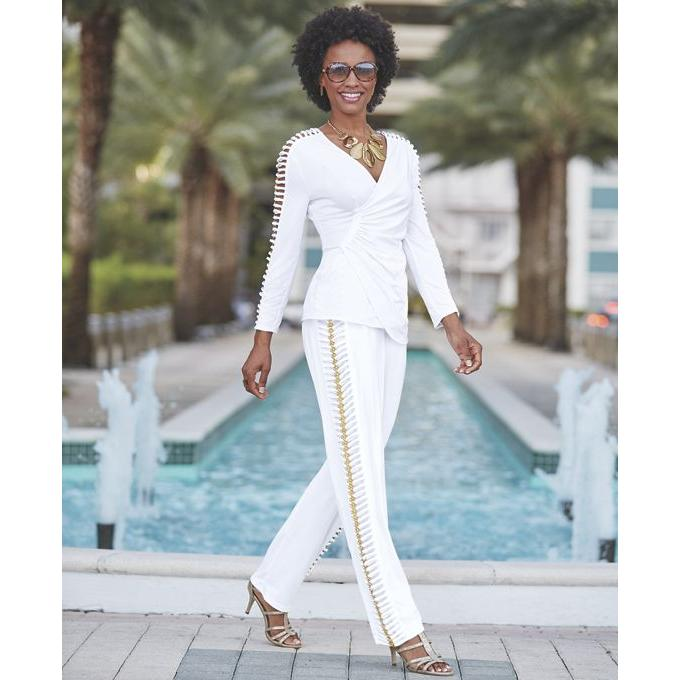 alanis top and pant set white