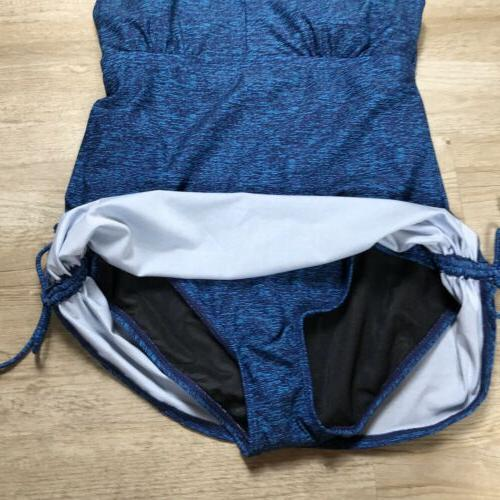 TYR suit 16 turquoise one piece v neck swimsuit fitness coverage